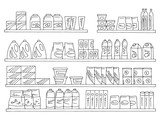 Shelves set graphic black white isolated sketch food grocery store illustration vector - 234825374