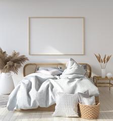 Mock-up poster frame in Scandinavian bedroom, Bohemian style, 3d render