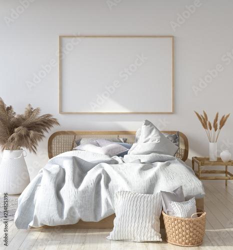 Egzamin próbny plakatowa rama w Skandynawskiej sypialni, czecha styl, 3d odpłaca się
