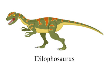 Ancient prehistoric animal dinosaur. Big wild ground predatory animal Dilophosaurus.
