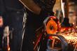 Leinwandbild Motiv Working saws iron sparks