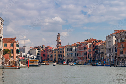 fototapeta na ścianę Grand Canal in Venice with tourist ships and boats on the blue sky background