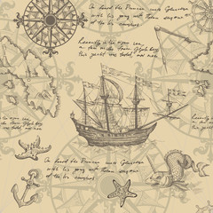 Old caravel, vintage sailboat, sea monster. Vector seamless pattern
