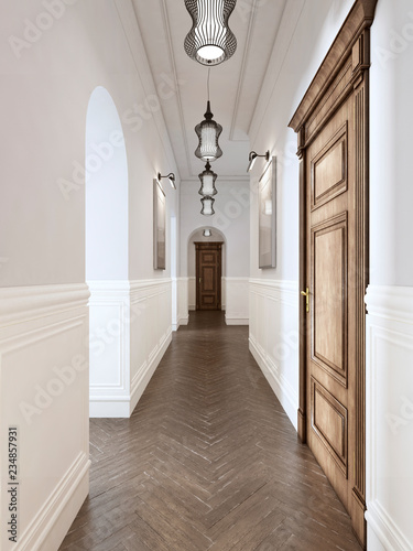 Leinwandbild Motiv Bright hall in classical style