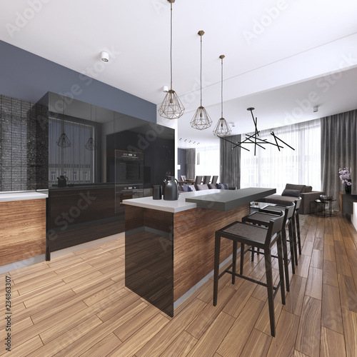 Luxury home interior beautiful kitchen with custom black and wood shaker cabinets, endless marble topped island with brown leather stools over wide planked hardwood floor. - 234863307