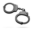 Leinwanddruck Bild - black metal handcuffs isolated with clipping path