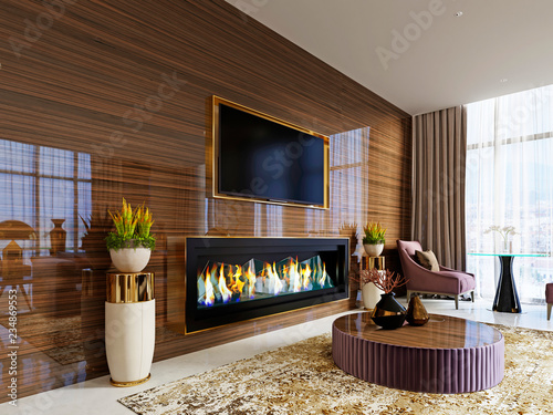 Luxury Designer Lobby Hotel With A Fireplace And A Tv Set Built Into