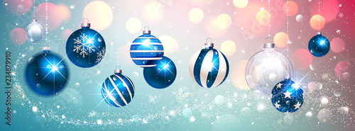 Blue Christmas Balls on Colorful Winter Background. Vector - 234879910