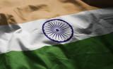India Flag Rumpled Close Up