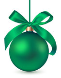 Green Christmas ball with decorative green bow isolated on white background