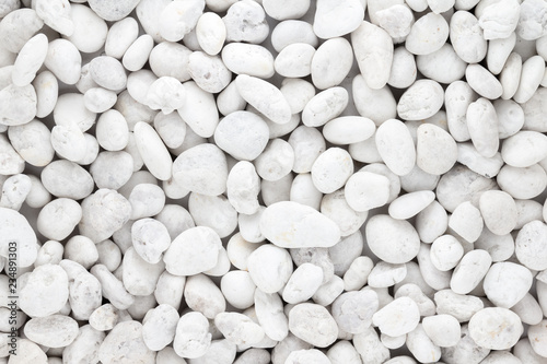 White pebbles stone texture and background  - 234891303