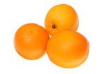 Fresh oranges isolated on white background.