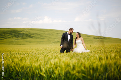 Beautiful wedding couple posing in green field
