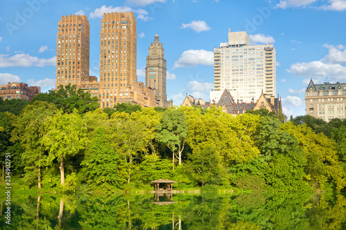 Central Park Lake and Upper West Side buildings in New York City