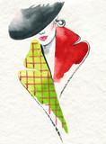 style coat. beautiful woman. fashion illustration. watercolor painting - 234922950