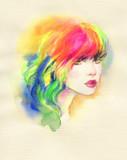 beautiful woman. fashion illustration. watercolor painting - 234923728