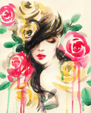 beautiful woman. fantasy illustration. watercolor painting - 234923930
