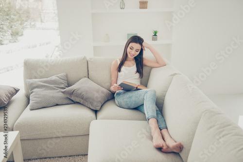 Leinwandbild Motiv Full legs body size cheerful charming inspiration imagination la