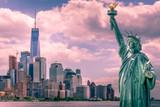 Manhattan skyline with Statue Of Liberty