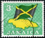 JAMAICA - 1964: shows Flag over map