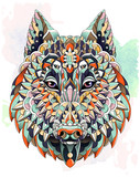 Patterned head of  the wolf on the grunge background. Dog.