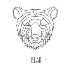 Bear stylized triangle polygonal model. Vector illustration