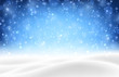 Blue shiny background with winter landscape and snow for seasonal, Christmas and New Year design.