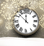 2019 New Year background with clock and fireworks. - 234971922