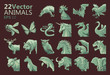 Vector Set Of 22 Illustrated Animals On Dark Background
