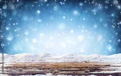 Leinwandbild Motiv Winter Background  - Snowy Table In The Night