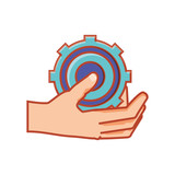 hand with gear machinery isolated icon