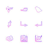 india  , map , country,  arrows , up , down , left , right , cloud, graph , ratio , 9 eps icons set vector
