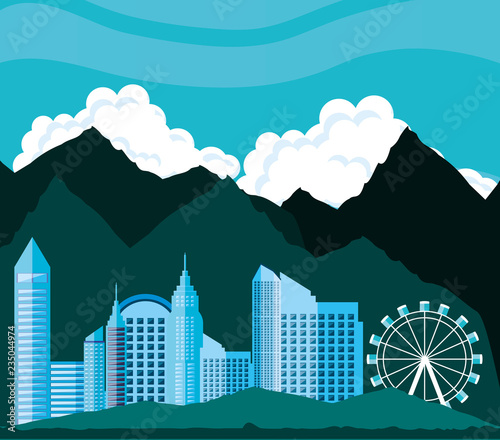cityscape with buildings scene - 235044974