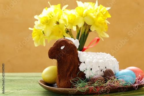 Leinwandbild Motiv festive baking cake decorated eggs for Easter