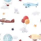 Watercolor aircraft baby pattern © zenina
