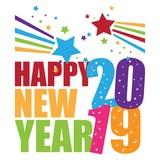 Greeting Card Happy New Year 2019 Design Illustration