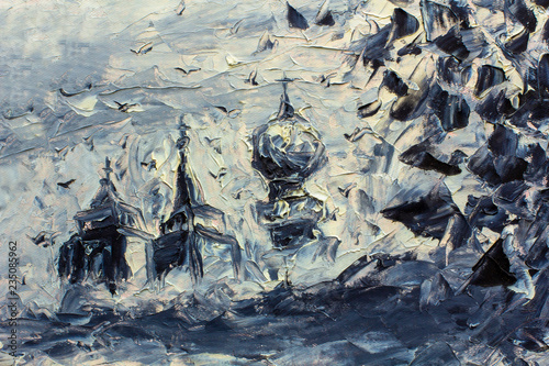 Black and white old domes of the church - rare vintage oil painting with a palette knife - large strokes, church crosses