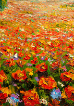 "Постер, картина, фотообои ""Original oil painting on canvas. Beautiful flowers. Modern art."""
