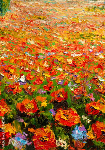 Original oil painting on canvas. Beautiful flowers. Modern art. © weris7554