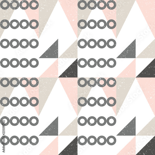 fototapeta na ścianę Geometric vector seamless pattern in retro style . Modern background with circles, semi circles, squares, lines and other simple shapes.