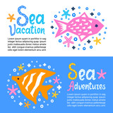 Cutout marine style kids design element paper flyers. Lettering titles Sea Vacation, Adventures. Vector EPS 10 funny cartoon doodle background of fish, starfish