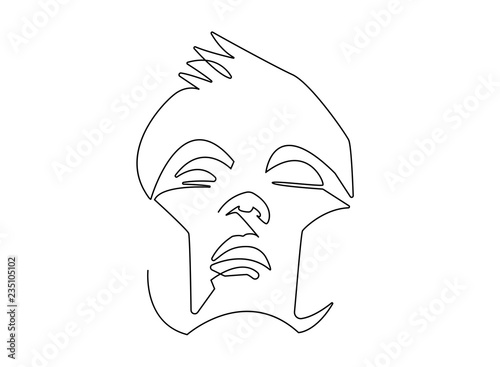03ebebca Continuous line, drawing of set faces and hairstyle, fashion concept, woman  beauty minimalist