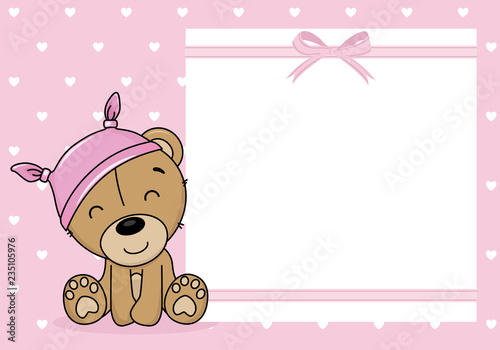 fototapeta na ścianę baby girl shower card. Bear with a nightcap. Space for text