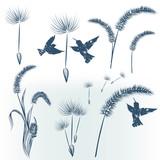 Elegant collection of floral elements - 235109175