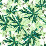 Floral vector pattern with green leaf - 235110946