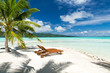 travel, seascape and nature concept - tropical beach with palm tree and two sunbeds in french polynesia