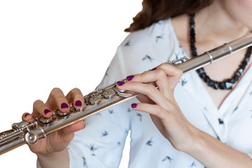 The Musician Flutist Girl Flute Player Isolated image © biggur