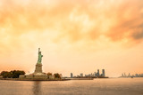View of the city of New York and the statue of liberty. and the bay. New York.   