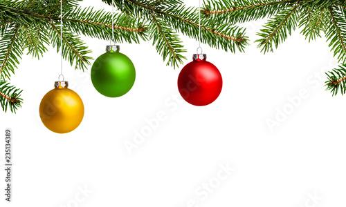 Foto Murales Bunte Weihnachtskugeln mit Tannenzweige