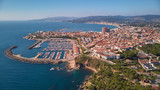 Aerial drone picture from ams all Spanish town Palamos